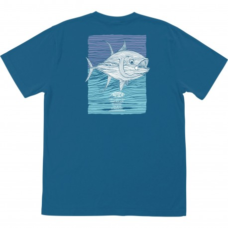 AFTCO TUNA ROLL T SHIRT - TEAL