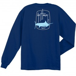 Guy Harvey Barrel Logo LS T-Shirt - Deep Blue