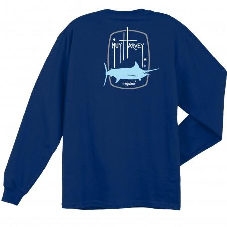 Guy Harvey Barrel Logo LS T-Shirt - Deep Blue