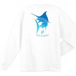 Guy Harvey Marlin Scribble LS T-Shirt - White