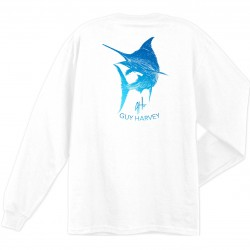 Guy Harvey Marlin Scribble LS T-Shirt - White