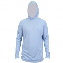 Guy Harvey Clipper Hood LS Performance Shirt - Sky Blue