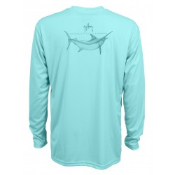 Guy Harvey Marlin Sketch LS Performance Shirt - Mint