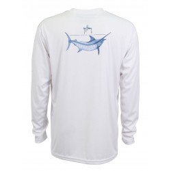 Guy Harvey Marlin Sketch LS Performance Shirt - White